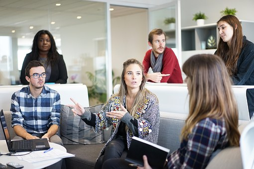 employees at business meeting workplace